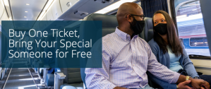 Buy-one-get-one fare Free with Amtrak 'Loves You Sale'.