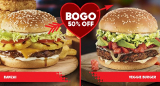 Buy one get another Gourmet Burger for 50% off at Red Robin.